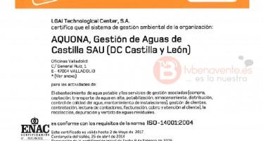 EL SERVICIO MUNICIPAL DE AGUAS OBTIENE LA CERTIFICACIÓN DE GESTIÓN MEDIOAMBIENTAL ISO 14001.