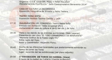PROGRAMA XI CONGRESO DE TOROS DE CUERDA BENAVENTE 2014.