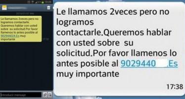 SI RECIBE ESTE SMS: «LE LLAMAMOS Y NO CONTACTAMOS: LLAME AL 902…», ES UN TIMO