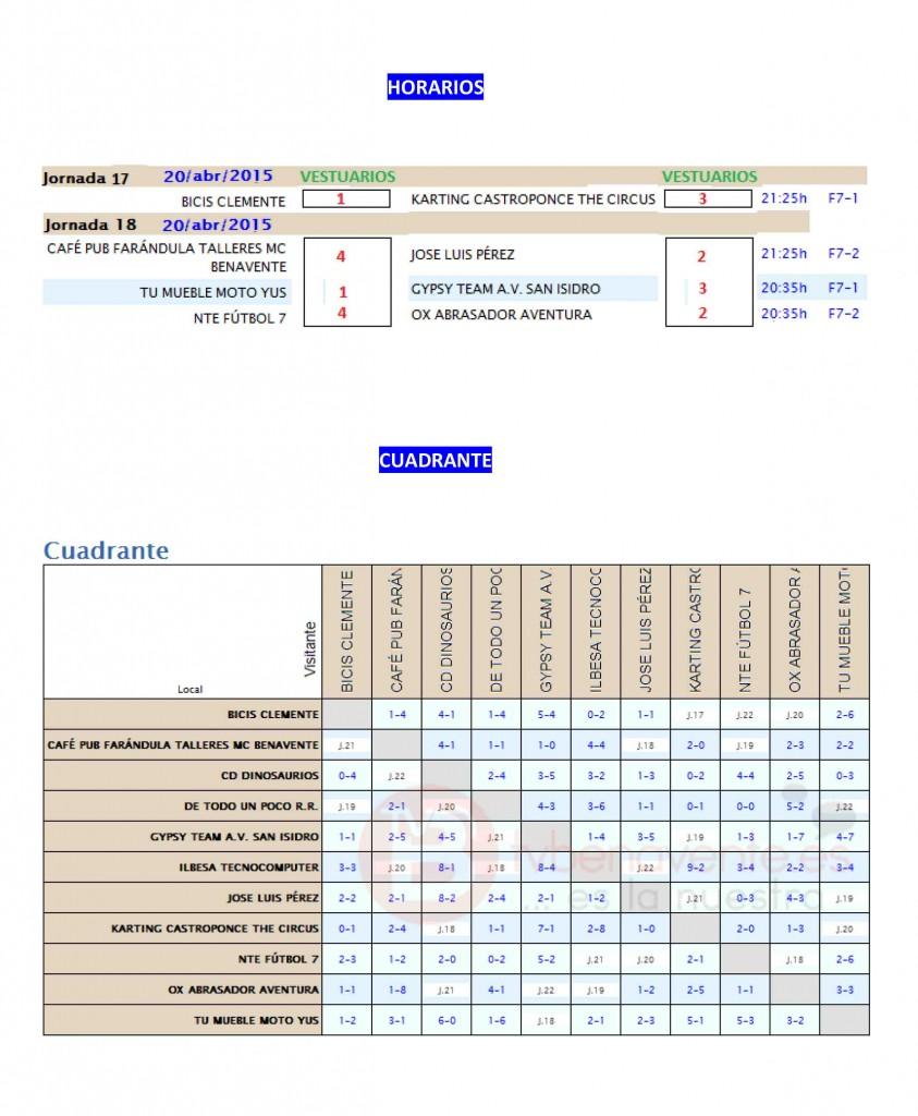 INFORMACIÓN JORNADA 17 Y HORARIOS JORNADA 17 Y 18-2