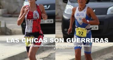 Mª José García y Victoria Vaquero graduadas en el II triatlón Piña de Campos