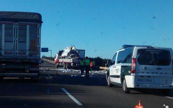 GALERÍA: Un camión colisiona contra una furgoneta en la A6
