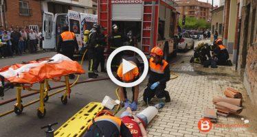 Labores de emergencia realizadas en el simulacro de Benavente