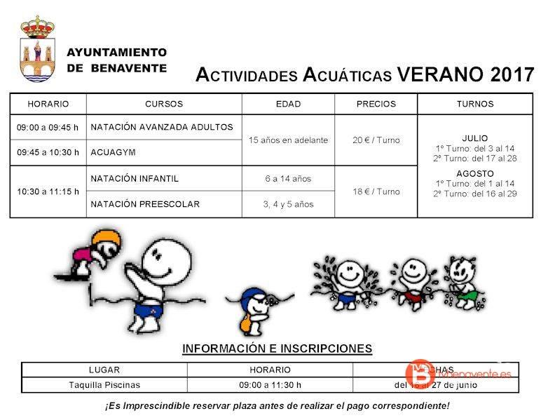 Actividades acu ticas en las piscinas municipales de benavente for Piscinas benavente